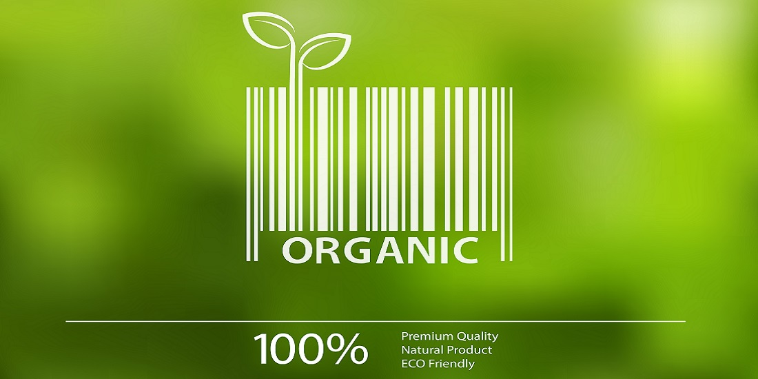 Vector blurred nature background with eco barcode label of Organic Farm Fresh Food.